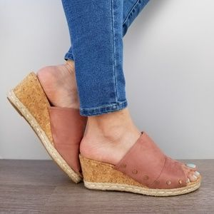 Shoes - Suede Slip On Cork and Espadrille Wedge Sandal-D